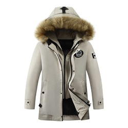 Standard Appliques Hooded Zipper Korean Down Jacket