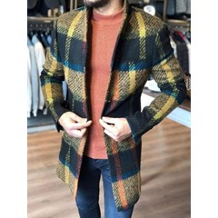 Mid-Length Stand Collar Plaid Single-Breasted Slim Coat