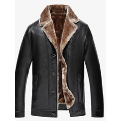 Plain Standard Lapel Winter Casual Leather Jacket
