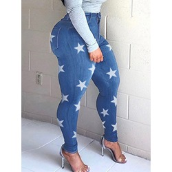 Pencil Pants Star Washable Zipper Women's Jeans