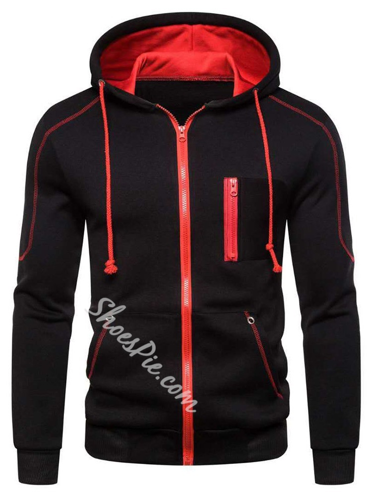 Cardigan Zipper Color Block Sports Zipper Hoodies