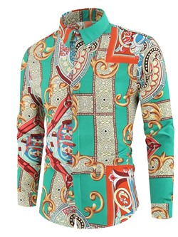 Print Lapel Floral Fall Single-Breasted Shirt