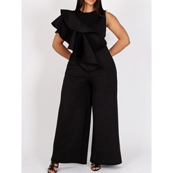 Sexy Plain Falbala Wide Legs Women's Jumpsuit