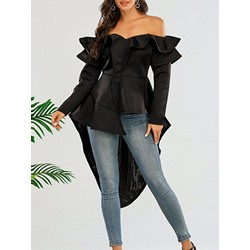 Plain Off Shoulder Regular Long Women's Blouse