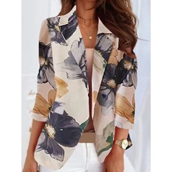Floral Long Sleeve Notched Lapel Regular Women's Casual Blazer