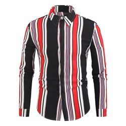 Korean Lapel Stripe Spring Single-Breasted Shirt