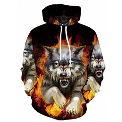 Pullover Print Animal Hooded Casual Hoodies