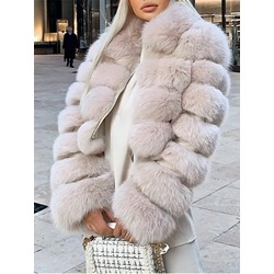 Lapel Short Plain Slim Women's Faux Fur Overcoat