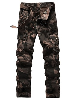 Straight Print Camouflage Four Seasons Zipper Casual Pants