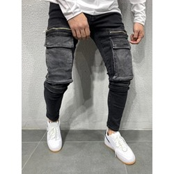 Pencil Pants Pocket Mid Waist European Jeans