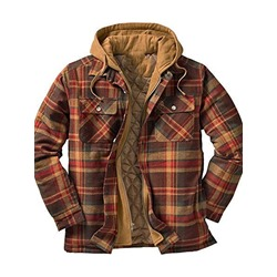 Plaid Zipper Hooded Fall Zipper Jacket