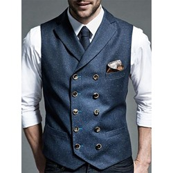 Lapel Button Plain Fall Double-Breasted Waistcoat
