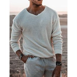 Plain Standard Round Neck European Loose Sweater