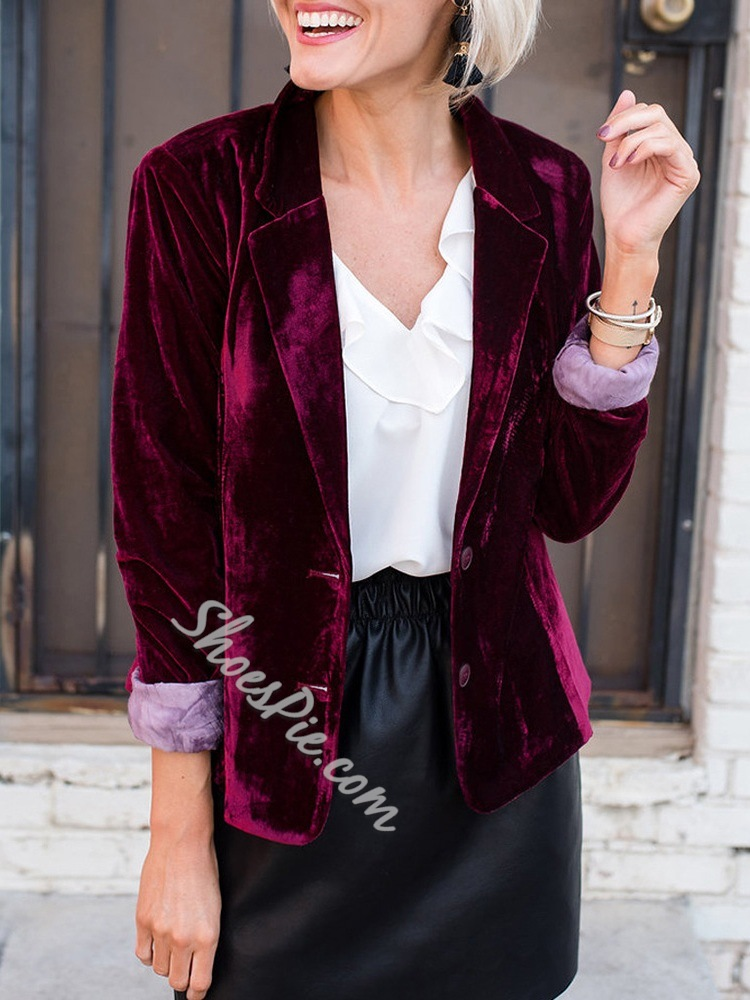 Notched Lapel Single-Breasted Plain Fall Women's Casual Blazer