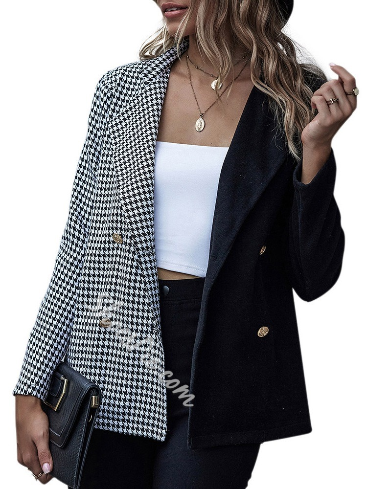 Plaid Lapel Double-Breasted Mid-Length Women's Casual Blazer
