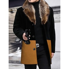 Patchwork Mid-Length Color Block Single-Breasted Slim Coat