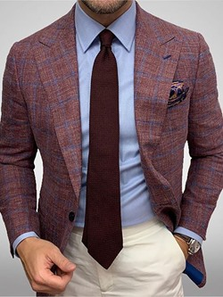 One Button Notched Lapel Plaid Blazer