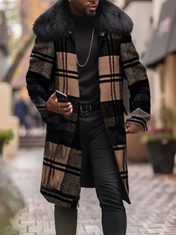 Plaid Long Lapel European Slim Coat
