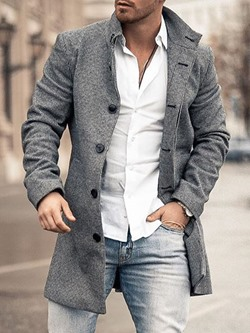 Plain Mid-Length Lapel OL Straight Coat