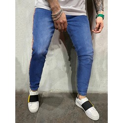 Pencil Pants Patchwork Color Block European Mid Waist Jeans