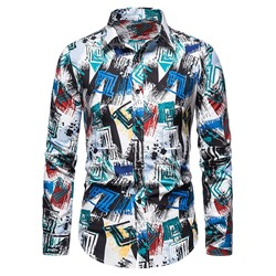 Korean Print Lapel Fall Single-Breasted Shirt