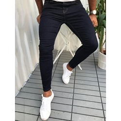 Plain Pencil Pants Casual Button Jeans