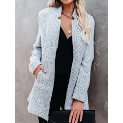 Thin Hidden Button Long Sleeve Winter Women's Jacket