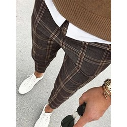 Plaid Print Fashion Fall Casual Pants