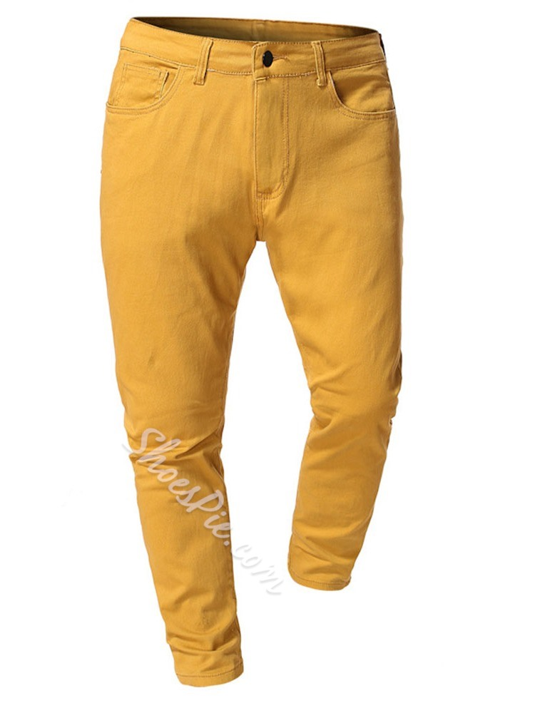 Straight Plain Spring Button Casual Pants