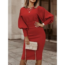 Long Sleeve Round Neck Mid-Calf Plain Women's Dress