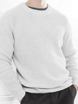 Standard Round Neck Plain Slim Fall Sweater