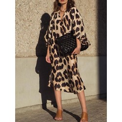 Mid-Calf V-Neck Print Pullover Women's Dress