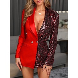 Double-Breasted Notched Lapel Color Block Fall Women's Casual Blazer