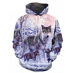Pullover Print Animal Loose Pullover Hoodies