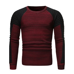 Standard Color Block Round Neck Fall Slim Sweater