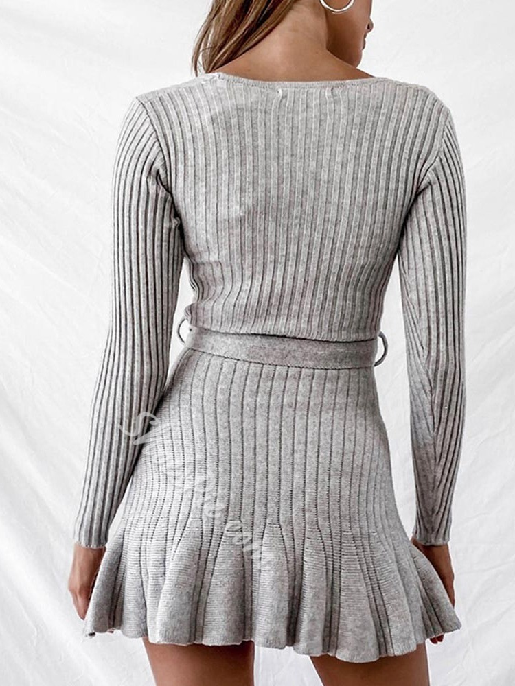 Long Sleeve Lace-Up V-Neck Plain Women's Dress