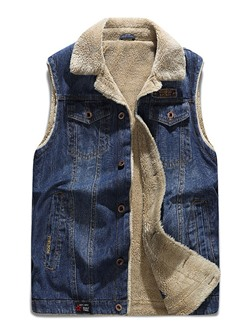 Thick Worn Lapel Casual Single-Breasted Waistcoat