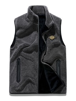 Appliques Stand Collar Letter Zipper Winter Waistcoat