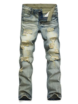 Straight Hole European Mid Waist Jeans