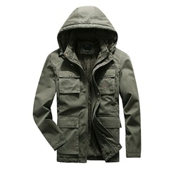 Pocket Plain Hooded Zipper Winter Jacket