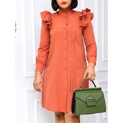 Stand Collar Stringy Selvedge Long Sleeve Fall Women's Dress