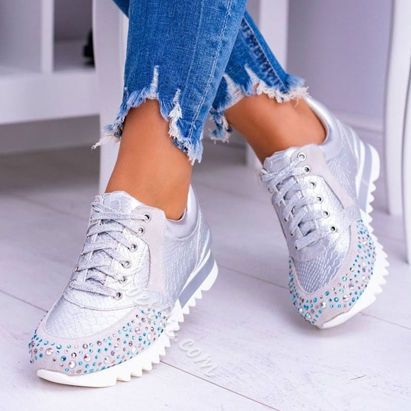Shoespie Sexy Lace-Up Rhinestone Round Toe Plain Sneakers