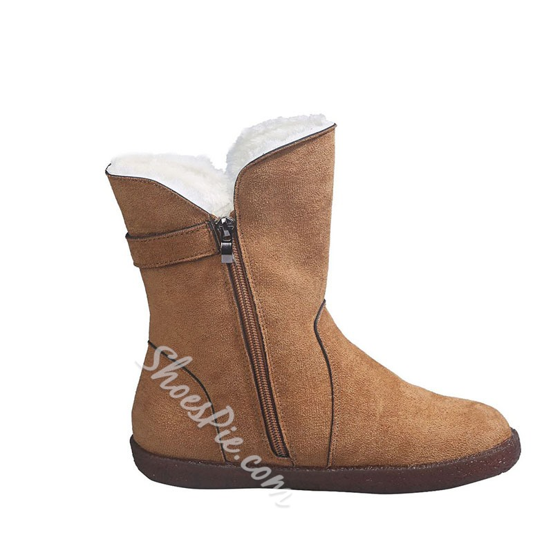 Shoespie Trendy Plain Round Toe Flat With Thread Boots
