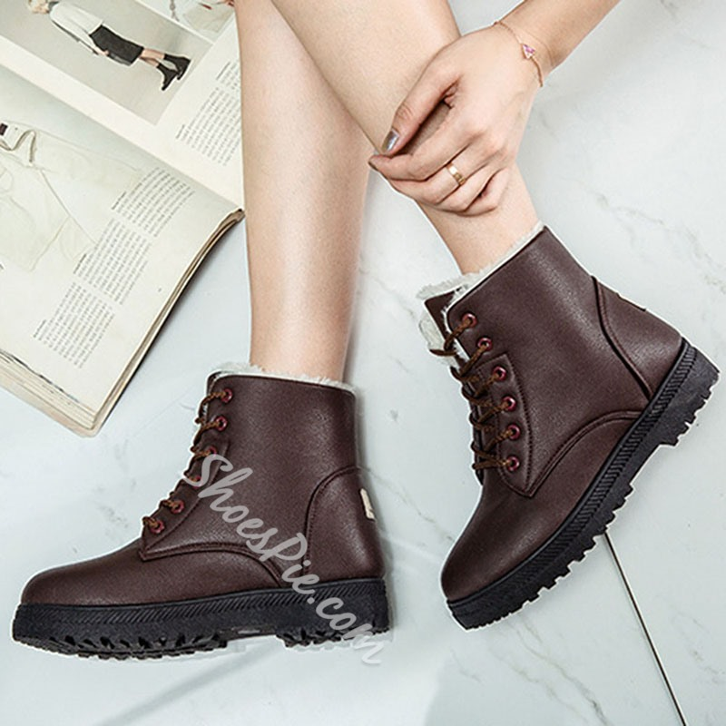Shoespie Stylish Round Toe Plain Lace-Up Front Korean Boots