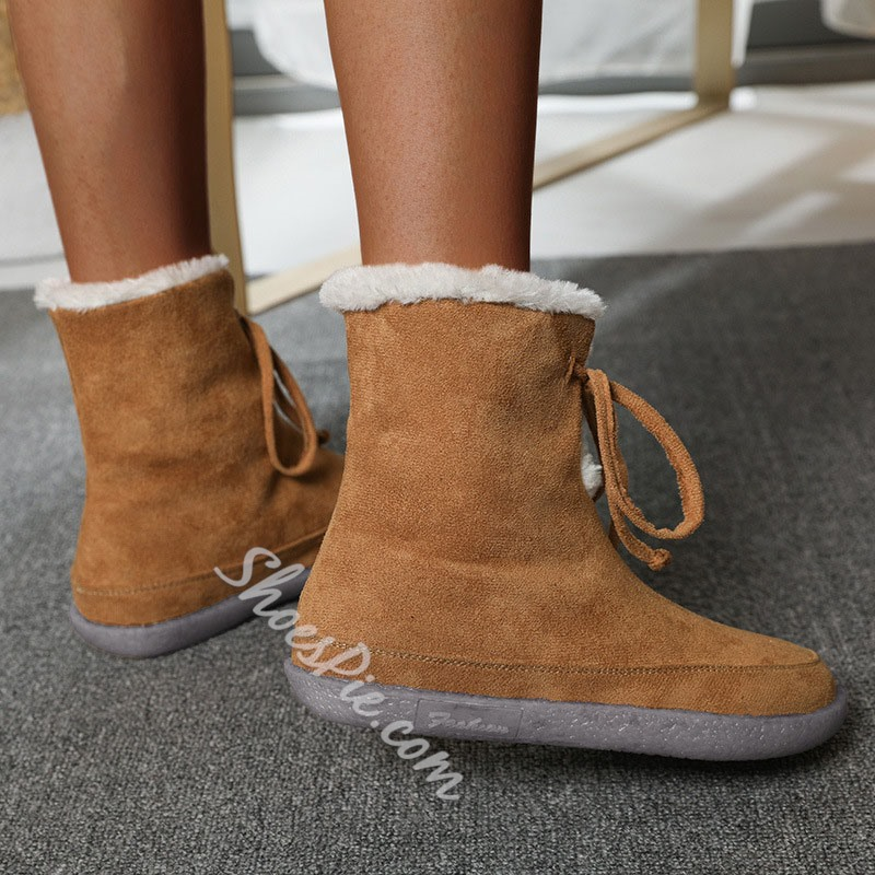 Shoespie Stylish Round Toe Lace-Up Front Plain Casual Boots