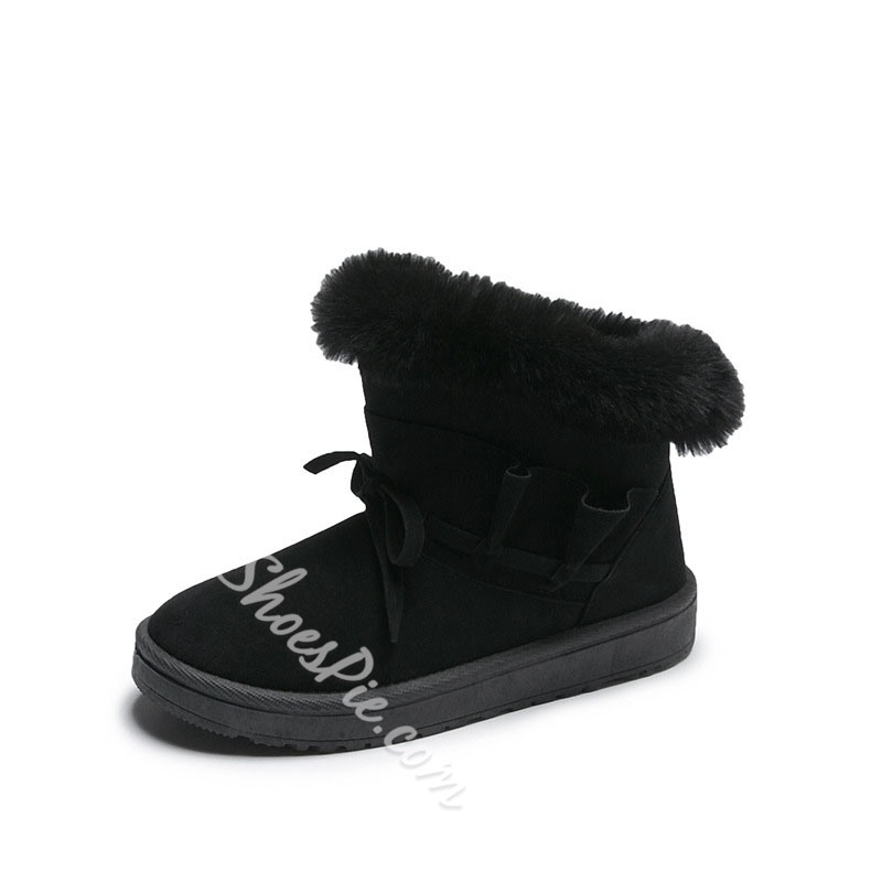 Shoespie Trendy Plain Flat With Slip-On Bow Boots