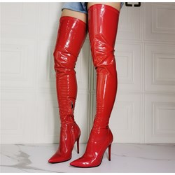 Shoespie Sexy Red Stiletto Heel Plain Pointed Toe Casual Boots