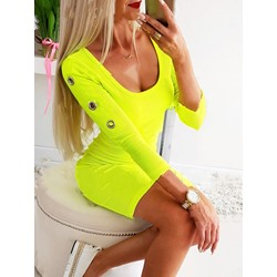 Scoop Above Knee Long Sleeve Regular Women's Dress