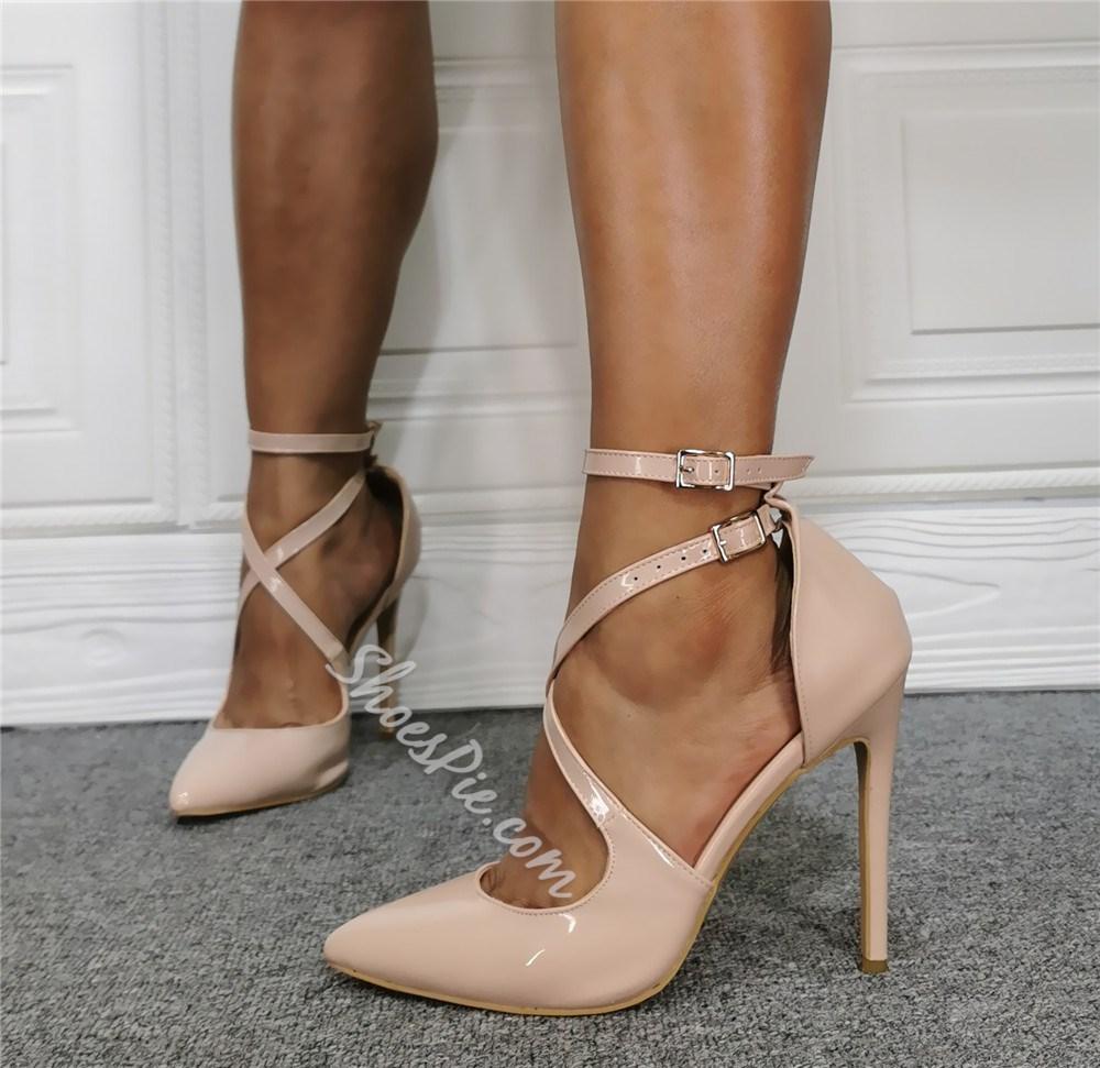 Shoespie Trendy Line-Style Buckle Stiletto Heel Pointed Toe Professional Thin Shoes