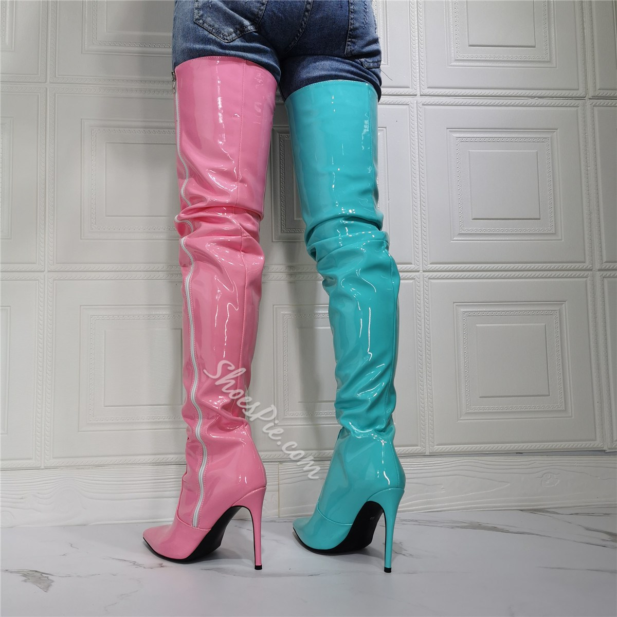 Shoespie Sexy Pointed Toe Stiletto Heel Color Block Sexy Boots